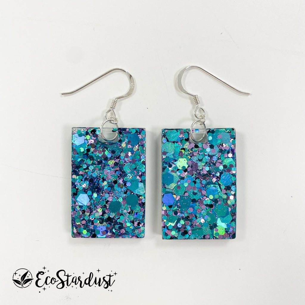 EcoStardust Amnesty Glitter Earrings - Blue and Violet Holo Rectangles