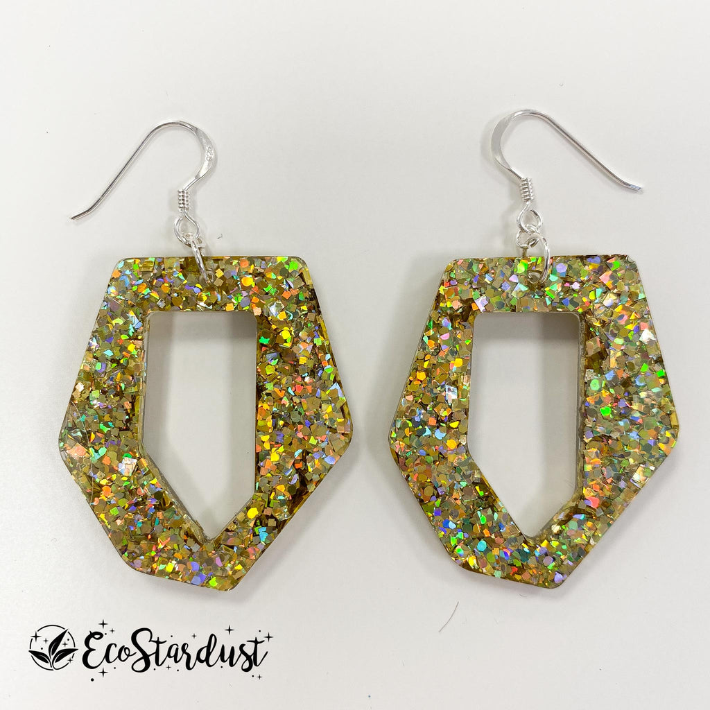 EcoStardust Amnesty Glitter Earrings - Holo Gold Abstract Hexagon