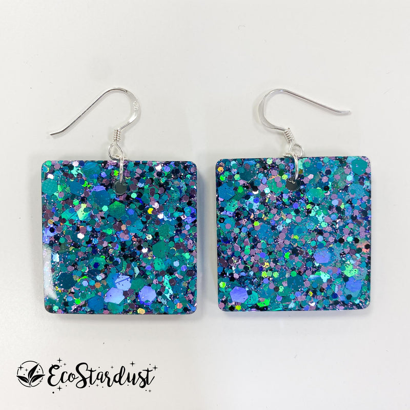 EcoStardust Amnesty Glitter Earrings - Blue and Violet Holo Mix Glitter Squares