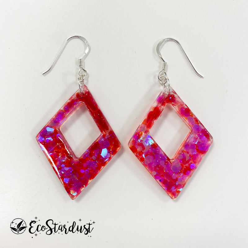 EcoStardust Amnesty Glitter Earrings - Pink Holo Diamond cut out