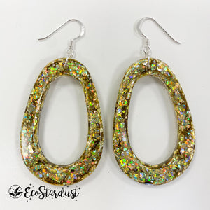 EcoStardust Amnesty Glitter Earrings - Gold Holo Pear Cut Out
