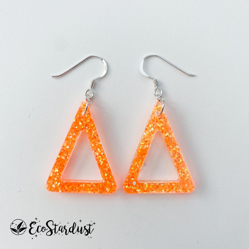 EcoStardust Amnesty Glitter Earrings - Mini Orange Triangle Cut Out Glitter Triangle