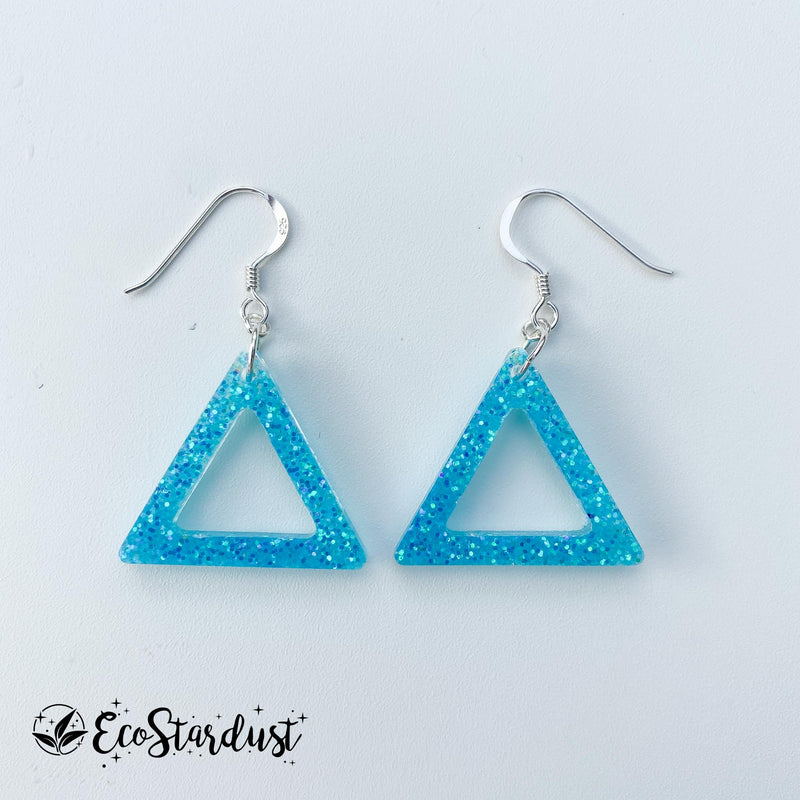EcoStardust Amnesty Glitter Earrings - Mini Blue Triangle Cut Out Glitter Triangle
