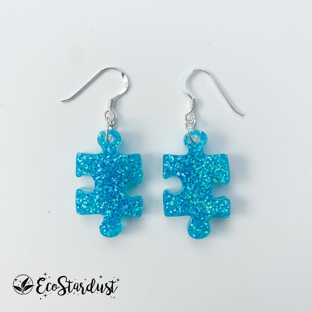 EcoStardust Amnesty Glitter Earrings - Blue Jigsaw Puzzle Pieces