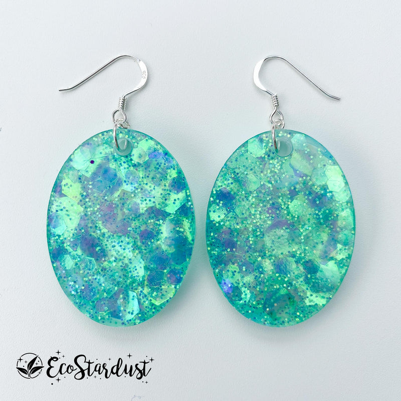 EcoStardust Amnesty Glitter Earrings - Sea Green Holo Large Ovals