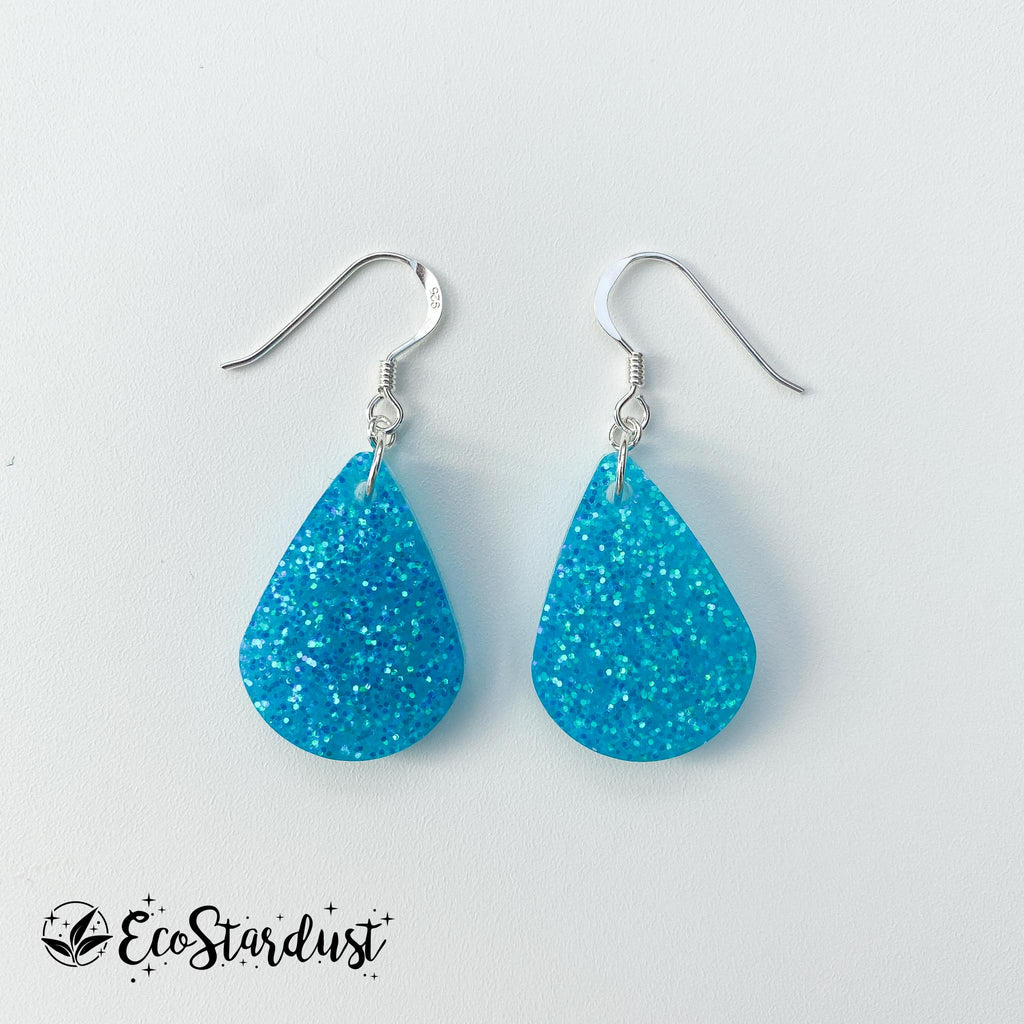 EcoStardust Amnesty Glitter Earrings - Blue Holo Pear Drops