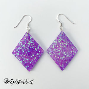 EcoStardust Amnesty Glitter Earrings - Holo Purple Glitter Diamond