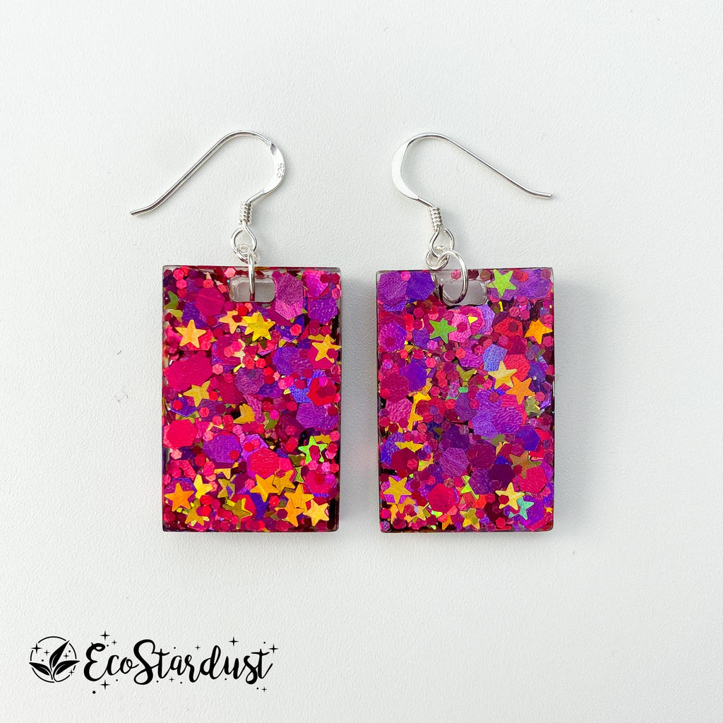 EcoStardust Amnesty Glitter Earrings - Pink with Gold Star Rectangles