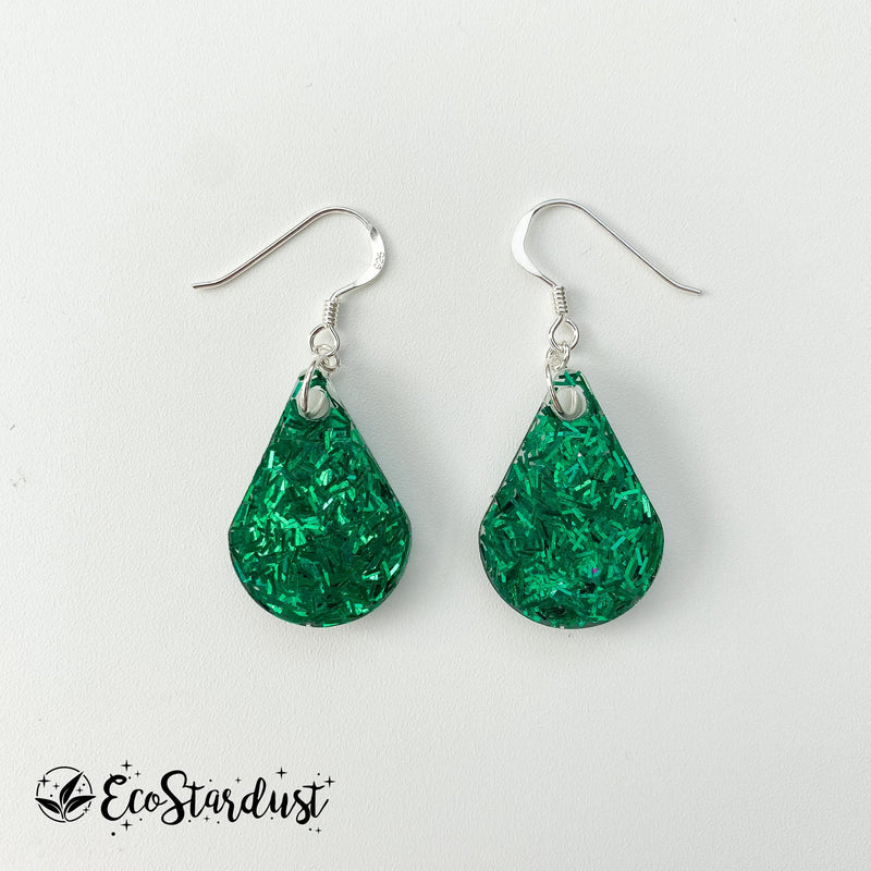 EcoStardust Amnesty Glitter Earrings - Green Tinsel Pear Drops