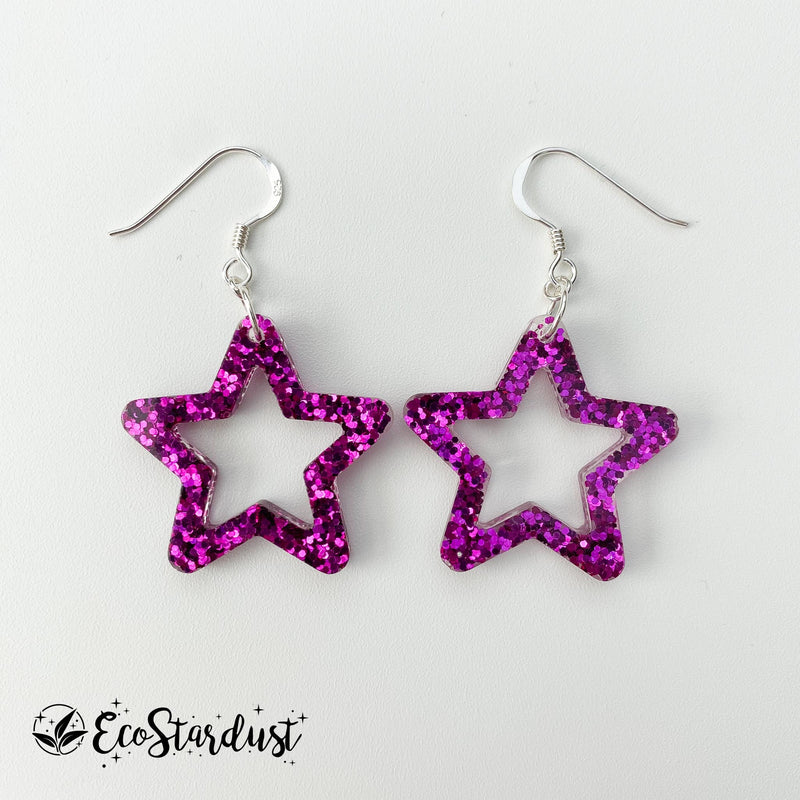 EcoStardust Amnesty Glitter Earrings - Mini Fuchsia Cut Out Star Glitter