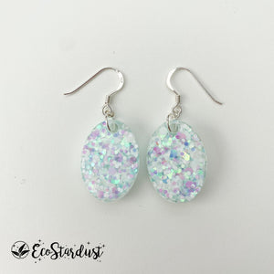 EcoStardust Amnesty Glitter Earrings - Silver Holo Mini Ovals