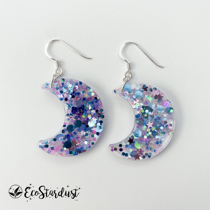 EcoStardust Amnesty Glitter Earrings - Silver and Pink Star Holo Glitter Crescent Moon
