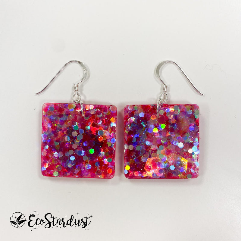 EcoStardust Amnesty Glitter Earrings - Hot Pink Glitter Small Squares