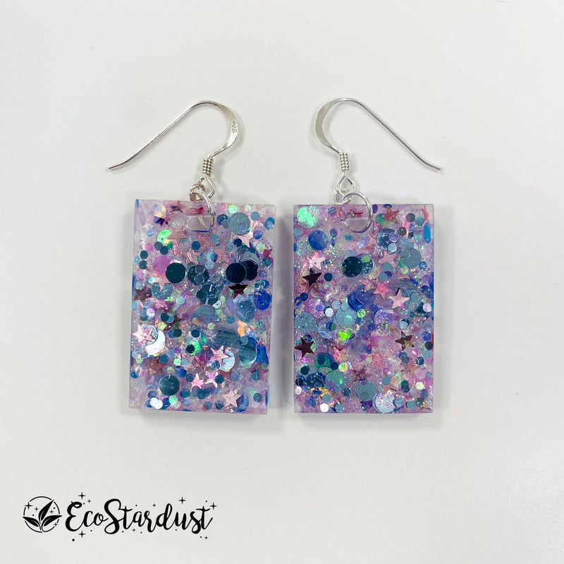 EcoStardust Amnesty Glitter Earrings - Jellyfish Glitter Rectangles