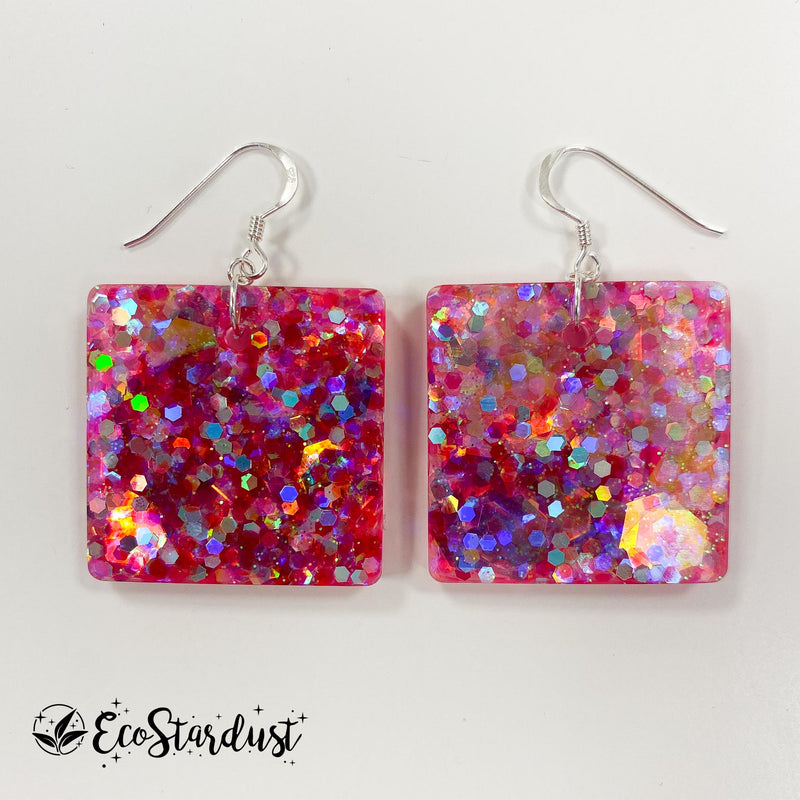 EcoStardust Amnesty Glitter Earrings - Hot Pink Mix Glitter Squares