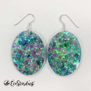 EcoStardust Amnesty Glitter Earrings - Blue Green Large Ovals