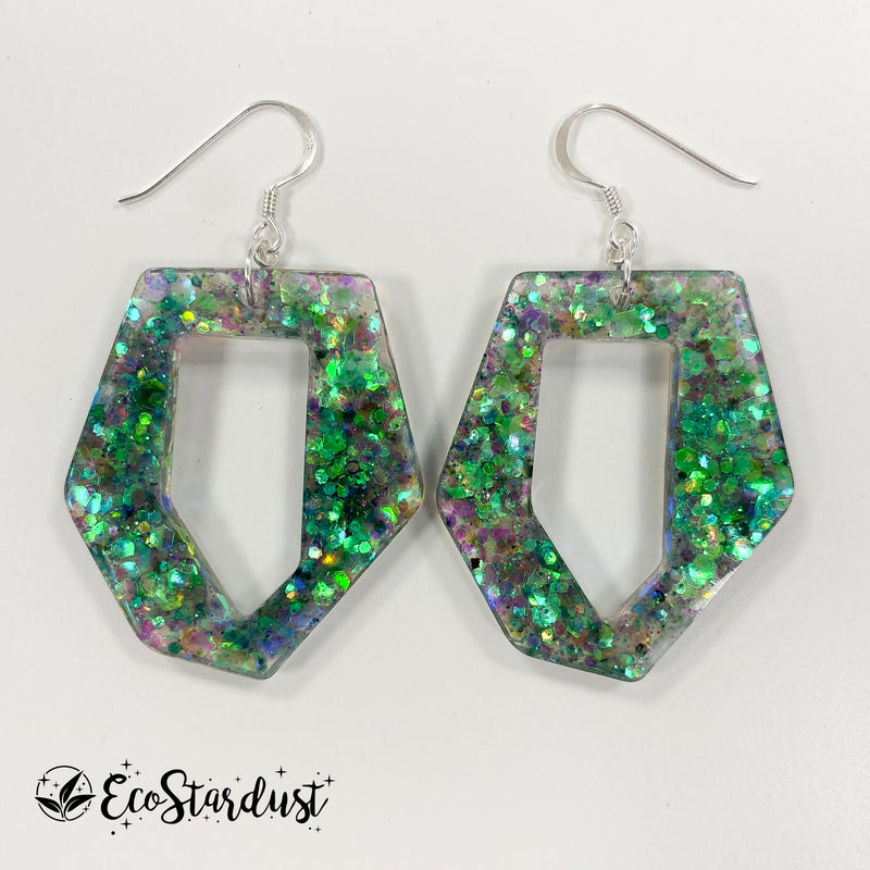 EcoStardust Amnesty Glitter Earrings - Holo Green Abstract Hexagon