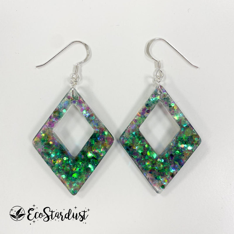 EcoStardust Amnesty Glitter Earrings - Green Holo Diamond cut out