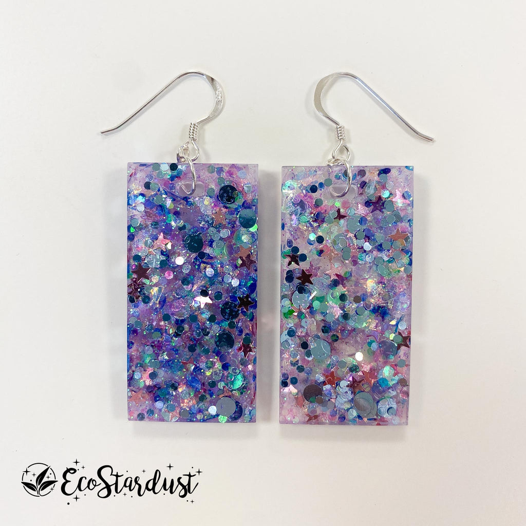 EcoStardust Amnesty Glitter Earrings - Jellyfish Large Rectangles