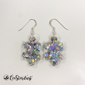 EcoStardust Amnesty Glitter Earrings - Holo Silver Jigsaw Puzzle Pieces