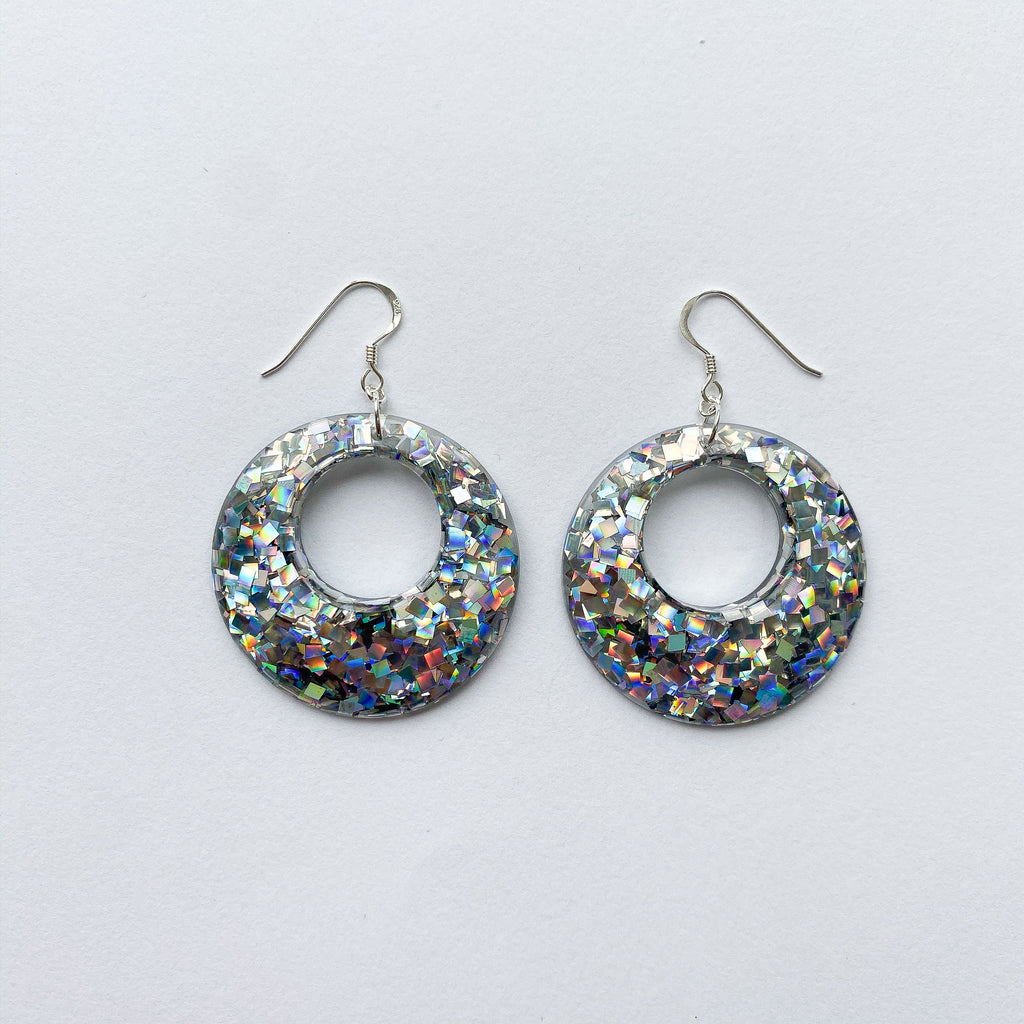 EcoStardust Amnesty Glitter Earrings - Extra Large Disco Glitter Cut Out Circles