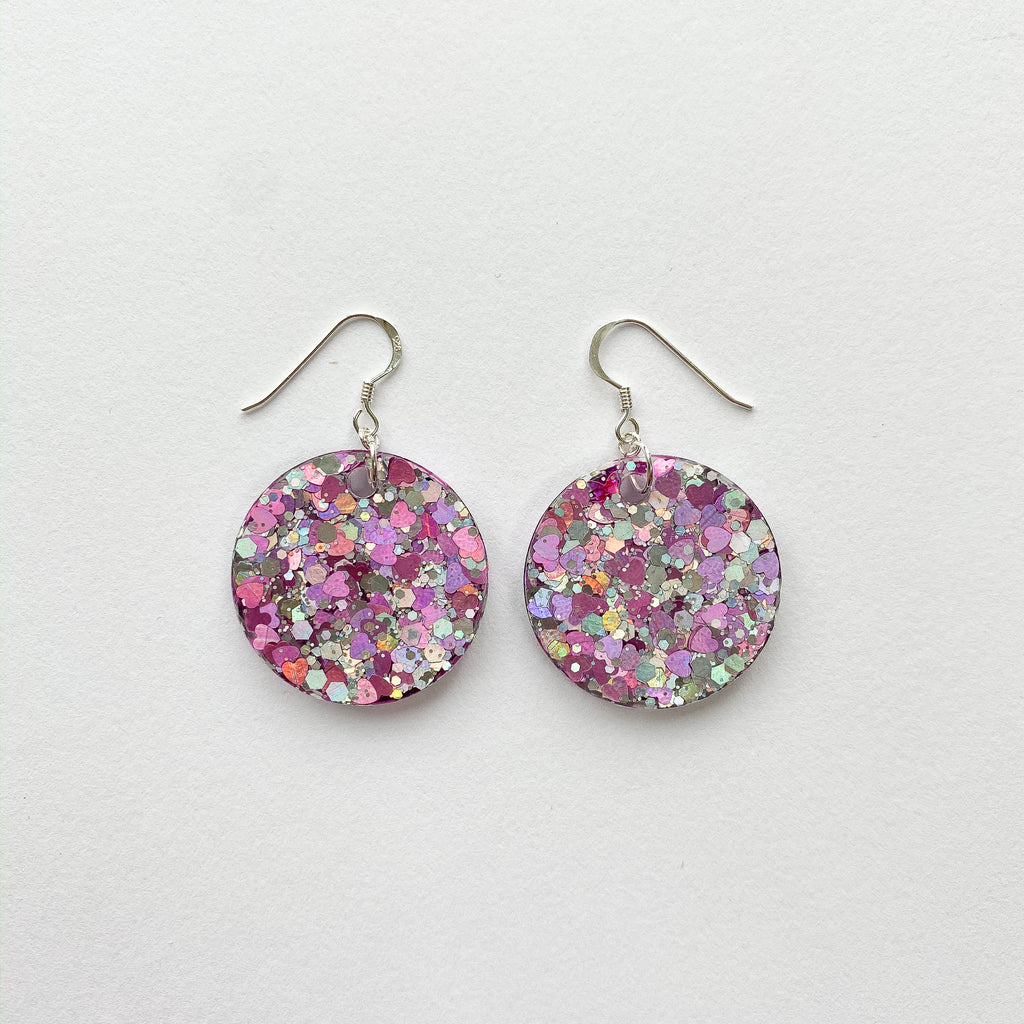 EcoStardust Amnesty Glitter Earrings - Baby Pink Hearts and Silver Holo Glitter Circles