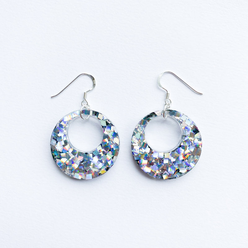 EcoStardust Amnesty Glitter Earrings - Disco Glitter Cut Out Circles - EcoStardust