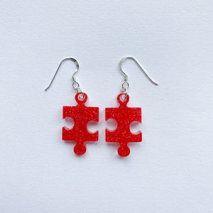 EcoStardust Amnesty Glitter Earrings - Red Jigsaw Puzzle Pieces - EcoStardust