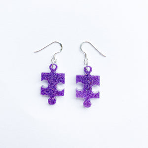 EcoStardust Amnesty Glitter Earrings - Purple Jigsaw Puzzle Pieces - EcoStardust