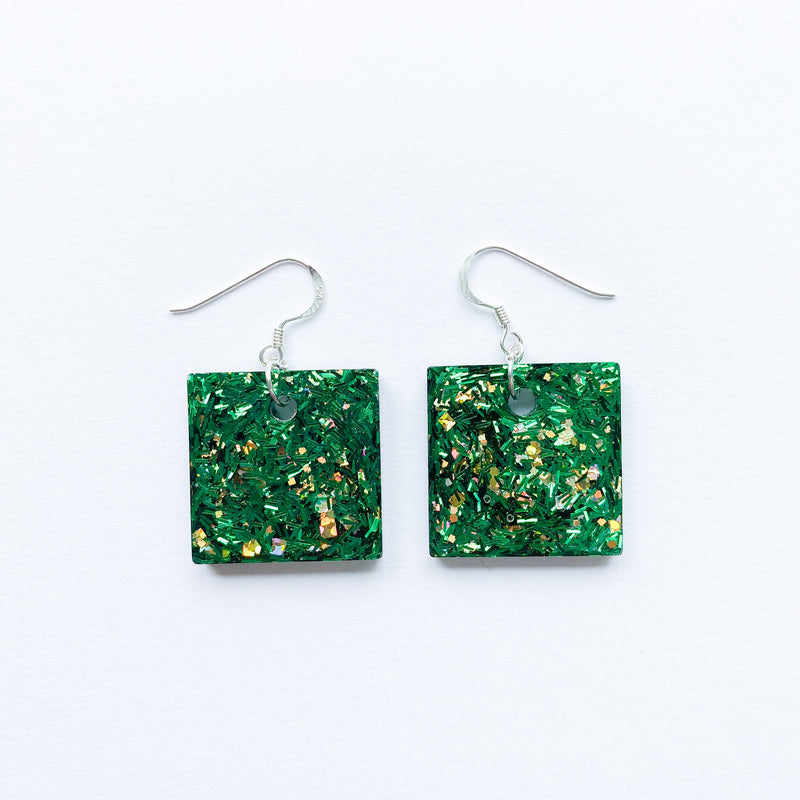 EcoStardust Amnesty Glitter Earrings - Green & Gold Glitter Small Squares - EcoStardust