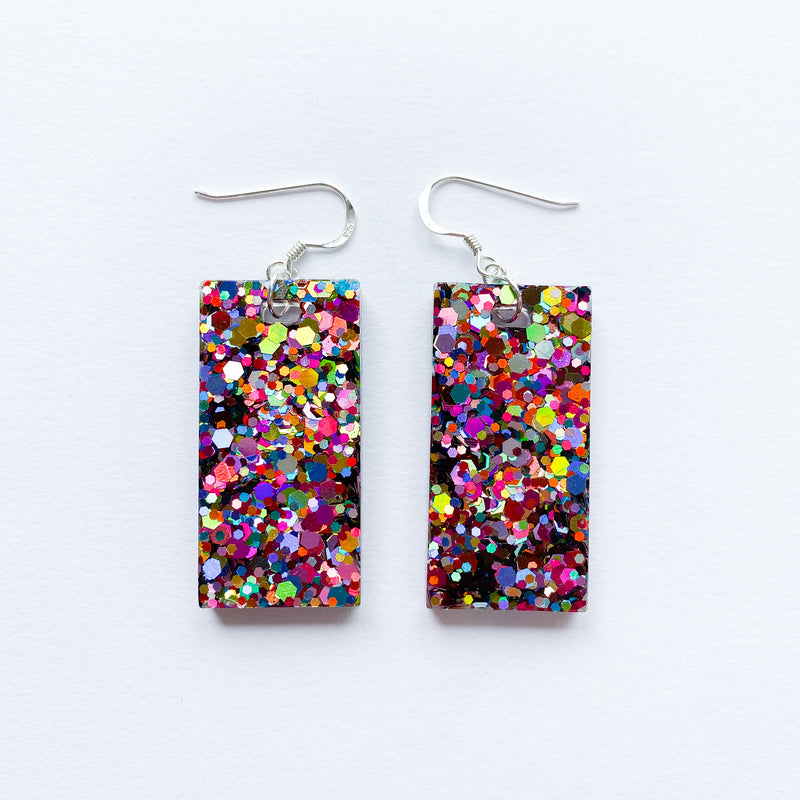 EcoStardust Amnesty Glitter Earrings - Multicoloured Large Rectangles - EcoStardust