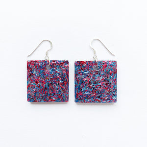 EcoStardust Amnesty Glitter Earrings - Red and Blue Tinsel Glitter Squares - EcoStardust