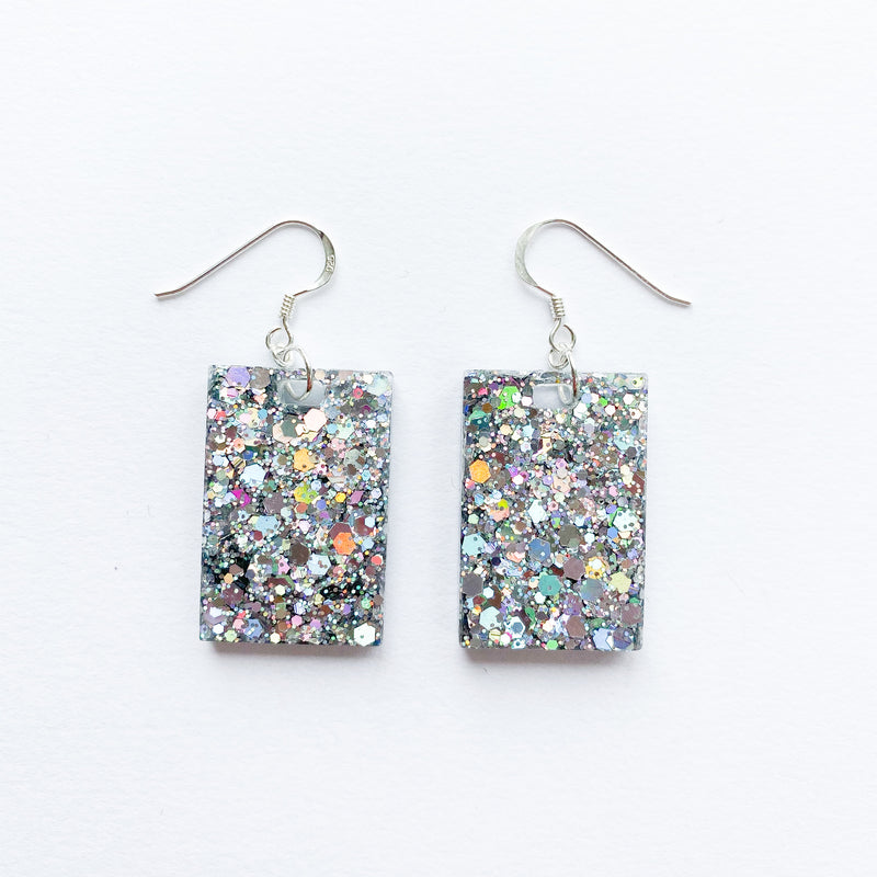EcoStardust Amnesty Glitter Earrings - Silver Holo Rectangles - EcoStardust