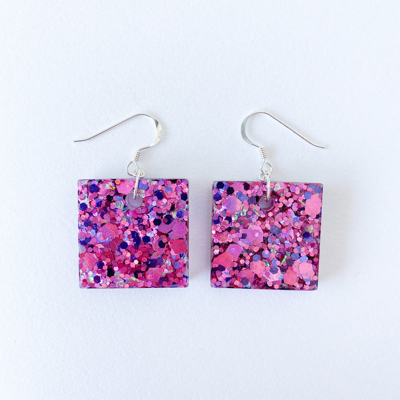 EcoStardust Amnesty Glitter Earrings - Fuchsia Purple Glitter Squares