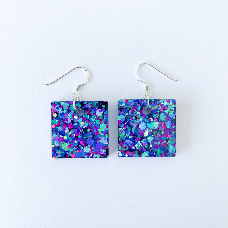 EcoStardust Deep Blue Glitter Earrings