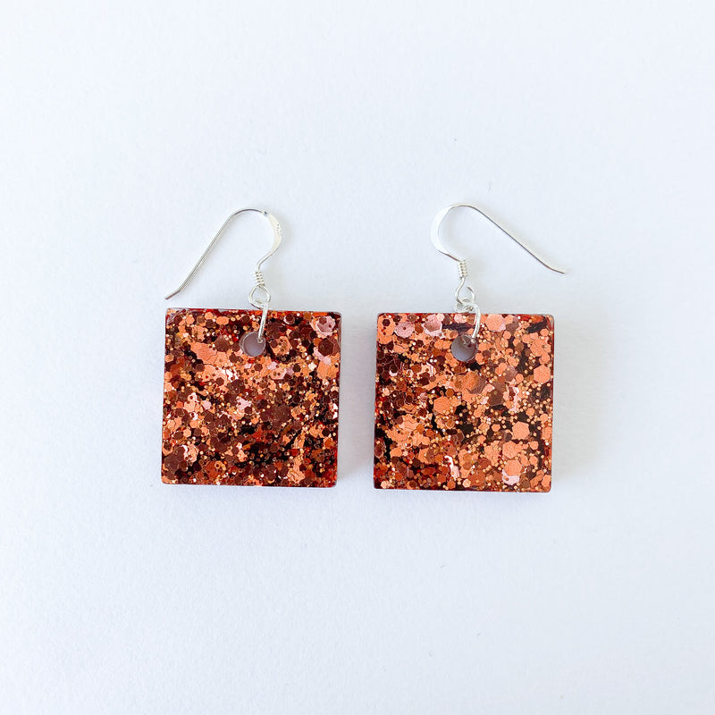 EcoStardust Amnesty Glitter Earrings - Copper Glitter Small Squares