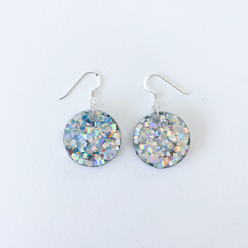 EcoStardust Amnesty Glitter Earrings - Mini Silver Star Holo Circle