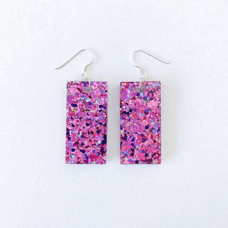 EcoStardust Amnesty Glitter Earrings - Deep Pink Large Rectangles