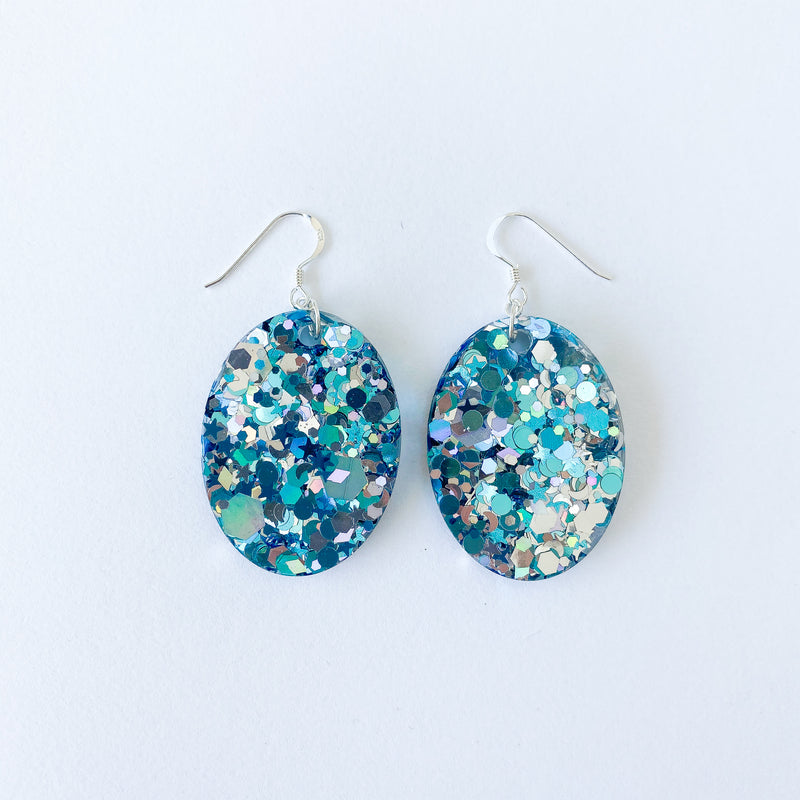 EcoStardust Turquoise Silver Glitter Earrings