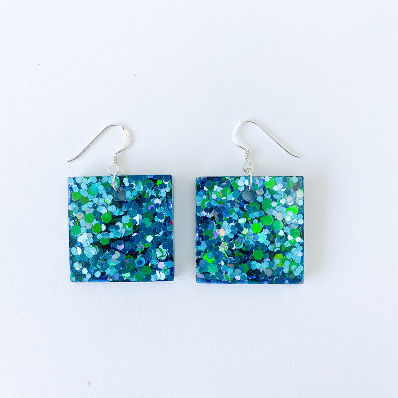 EcoStardust Aqua Glitter Earrings