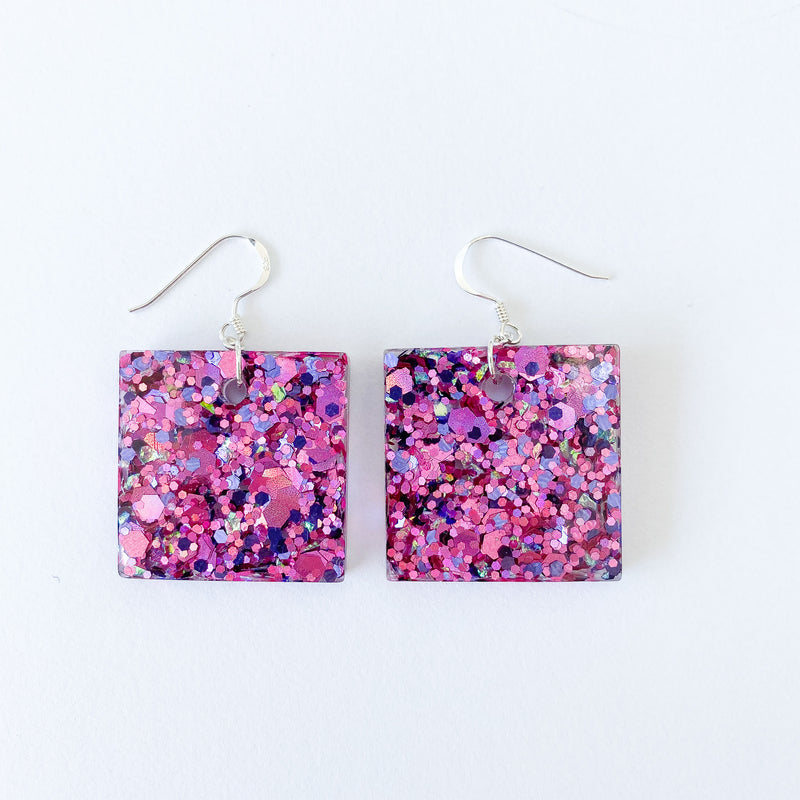 EcoStardust Pink Glitter Earrings
