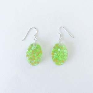 EcoStardust Amnesty Glitter Earrings 60's Green Holo Mini Ovals