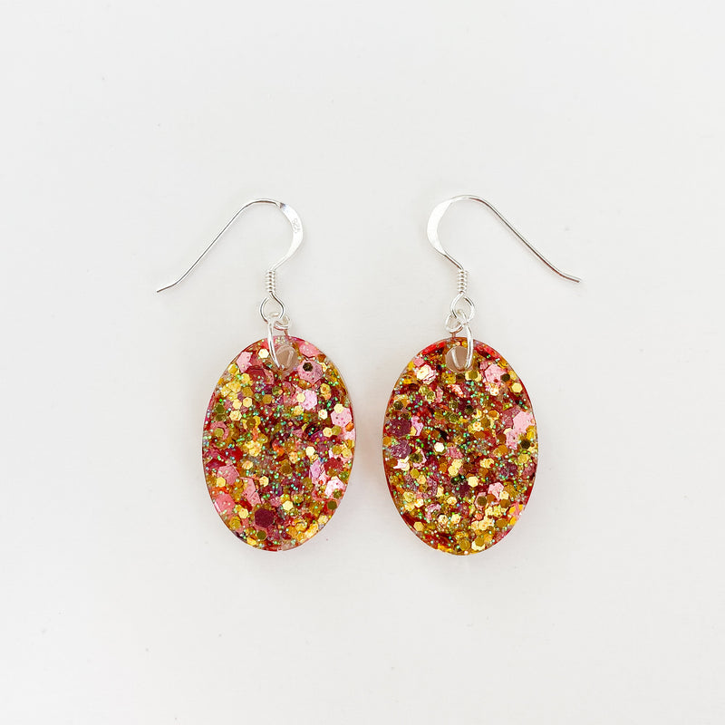 EcoStardust Amnesty Glitter Earrings - Rose & Gold Glitter Mini Ovals