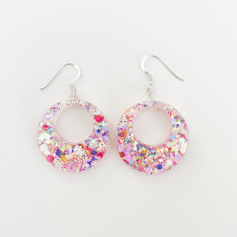 EcoStardust Amnesty Glitter Earrings - Pastel Pink Holo Glitter Cut Out Circles