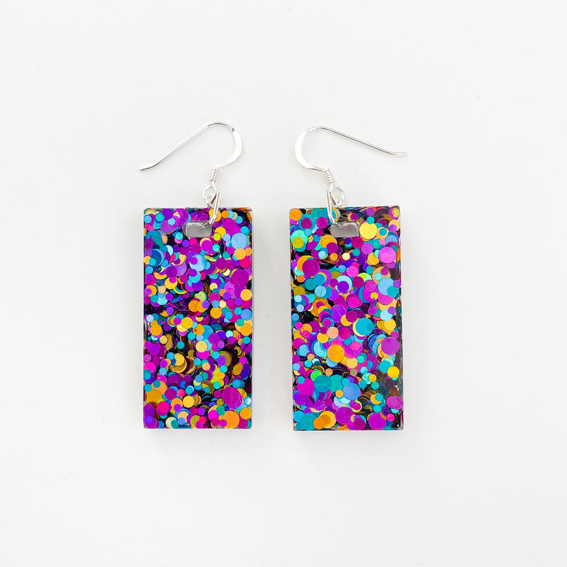 EcoStardust Amnesty Glitter Earrings - Purple, Gold, Blue Rectangles
