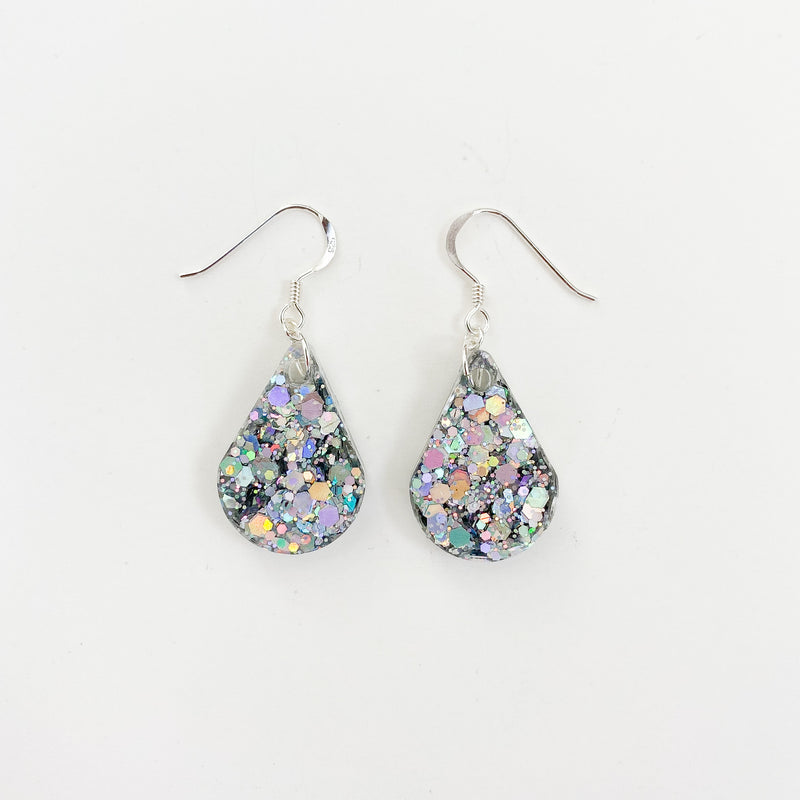 EcoStardust Amnesty Glitter Earrings - Silver Holo Pear Drops