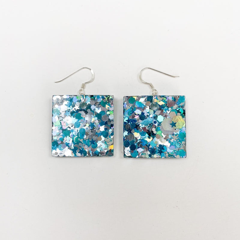 EcoStardust Amnesty Glitter Earrings - Blue & Silver Glitter Squares