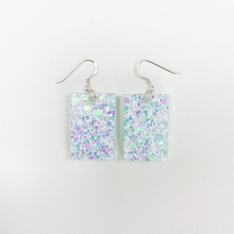 EcoStardust Amnesty Glitter Earrings - Ice Blue Holo Rectangles