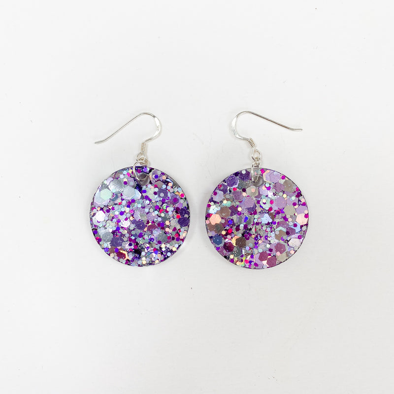 EcoStardust Amnesty Glitter Earrings - Purple & Silver Holo Glitter Circles