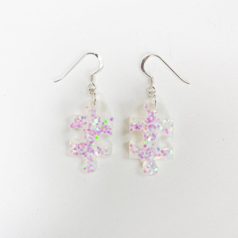 EcoStardust Amnesty Glitter Earrings - Iridescent Jigsaw Puzzle Pieces